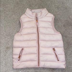 Toddler girl blush puffer vest. rose gold hardware